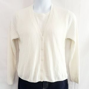 Alfred Dunner Cream Vested Sweater, Size MP